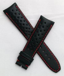 Black Perforated Sports-style leather 22/18 mm pin buckle strap with red stitching & lining to fit TAG Heuer Grand Carrera models with 22 mm lug width