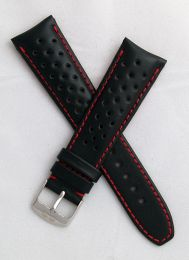 22 mm Heuer Carrera Style Black Sports perforated pin buckle leather strap with red stitching