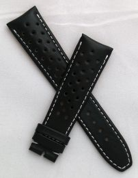 Black Perforated Sports-style leather 22/18 mm pin buckle strap with white stitching to fit TAG Heuer Grand Carrera models with 22 mm lug width