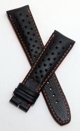 Black Perforated Sports-style leather 22/18 mm pin buckle strap with orange stitching & lining to fit TAG Heuer Monaco models with 22 mm lug width