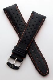 22 mm Heuer Carrera Style Black Sports perforated pin buckle leather strap with orange stitching & lining