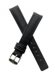 Black genuine leather pin buckle watch strap with black stitching to fit TAG Heuer 6000 Series ladies watches