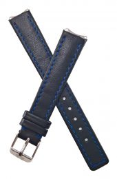 Black genuine leather pin buckle watch strap with blue stitching and lining to fit TAG Heuer 6000 Series ladies watches