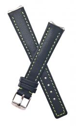 Black genuine leather pin buckle watch strap with green stitching and lining to fit TAG Heuer 6000 Series ladies watches