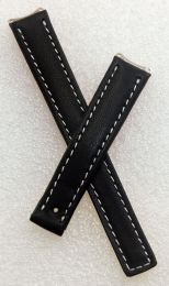 Black genuine leather watch strap with white stitching to fit TAG Heuer 6000 Series ladies watches