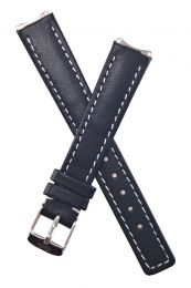 Black genuine leather pin buckle watch strap with white stitching to fit TAG Heuer 6000 Series ladies watches