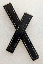 Black genuine leather watch strap with silver stitching to fit TAG Heuer 6000 Series ladies watches