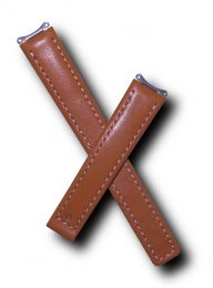 Tan genuine leather watch strap with white stitching to fit TAG Heuer 6000 Series ladies watches