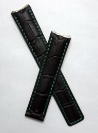 Black crocodile-style leather deployment strap with green stitching to fit TAG Heuer 6000 Series mid-sized models