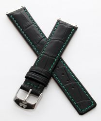 Black crocodile-style pin buckle strap with green stitching to fit 6000 Series mid-sized models as listed