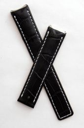 Black crocodile-style leather deployment strap with white stitching to fit TAG Heuer 6000 Series mid-sized models