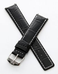 Black crocodile-style pin buckle strap with white stitching to fit 6000 Series mid-sized models as listed