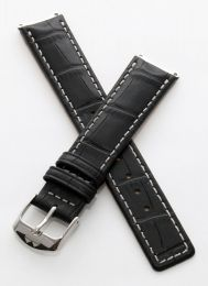 Black crocodile-style pin buckle strap with silver stitching to fit 6000 Series mid-sized models as listed