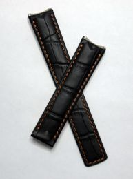 Black crocodile-style leather deployment strap with old gold stitching to fit TAG Heuer 6000 Series mid-sized models