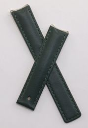 Dark green smooth leather deployment strap with green stitching to fit TAG Heuer 6000 Series mid-sized models
