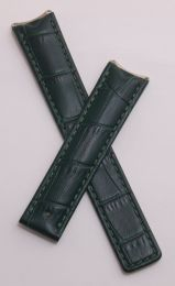 Dark green crocodile-style leather deployment strap with green stitching to fit TAG Heuer 6000 Series mid-sized models