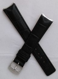 Black crocodile-style leather pin buckle strap with black stitching to fit TAG Heuer 6000 Series gents watches as listed