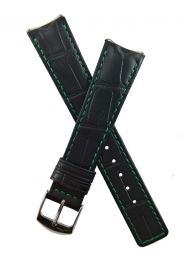 Black crocodile-style leather pin buckle strap with green stitching & lining to fit TAG Heuer 6000 Series gents watches as listed