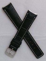 Black crocodile-style leather pin buckle strap with white stitching to fit TAG Heuer 6000 Series gents watches as listed