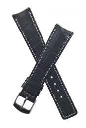 Black crocodile-style leather pin buckle strap with silver stitching to fit TAG Heuer 6000 Series gents watches as listed