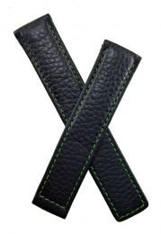 19/18 mm black buffalo grain genuine leather deployment type strap with green stitching & lining to fit TAG Heuer Carrera models listed below - please read clasp fitment notes