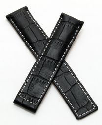 19/18 mm black crocodile-style genuine leather deployment type strap with white stitching to fit TAG Heuer Carrera models listed below - please read clasp fitment notes