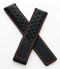 19/18 mm black sports perforated genuine leather deployment type strap with orange stitching and lining to fit TAG Heuer Carrera models listed below - please read clasp fitment notes