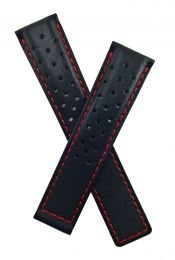 20/18 mm black sports perforated genuine leather deployment type strap with red stitching to fit TAG Heuer Autavia models listed below - please read clasp fitment details