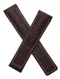 Brown Crocodile-style leather strap with white stitching to fit TAG Heuer S/el WI11xx and WI21xx models
