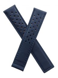 20/18 mm dark navy blue sports perforated genuine leather deployment type strap with blue stitching to fit TAG Heuer Autavia models listed below - please read clasp fitment notes