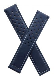 20/18 mm dark navy blue sports perforated genuine leather deployment type strap with white stitching to fit TAG Heuer Autavia models listed below - please read clasp fitment notes