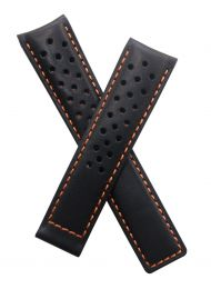 20/18 mm black sports perforated genuine leather strap with orange stitching & lining to fit TAG Heuer Carrera & Grand Carrera models listed below - please read clasp fitment details