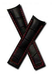 22/18 mm black genuine leather crocodile-style deployment type strap with red stitching to fit Carrera/Grand Carrera models listed below - please read clasp fitment notes
