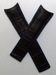 22/18 mm black genuine leather crocodile-style deployment type strap with blue stitching, lining & edging to fit Carrera/Grand Carrera models listed below - please read clasp fitment notes