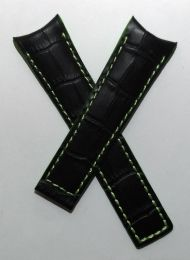 22/18 mm black genuine leather crocodile-style deployment type strap with green stitching, lining & edging to fit Carrera/Grand Carrera models listed below - please read clasp fitment notes