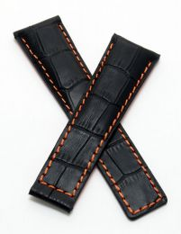 22/18 mm black genuine leather crocodile-style deployment type strap with orange stitching and lining to fit Carrera/Grand Carrera models listed below - please read clasp fitment notes