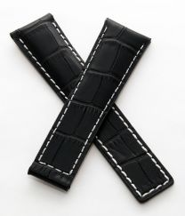 22/18 mm black genuine leather crocodile-style deployment type strap with silver stitching to fit Carrera/Grand Carrera models listed below - please read clasp fitment notes