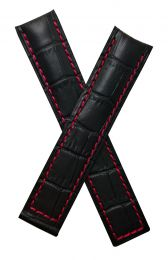20/18 mm black crocodile-style genuine leather deployment type strap with red stitching to fit TAG Heuer Grand Carrera models listed below - please read clasp fitment notes