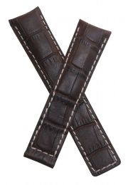 20/18 mm dark brown crocodile-style genuine leather deployment type strap with white stitching to fit TAG Heuer Grand Carrera models listed below - please read clasp fitment notes