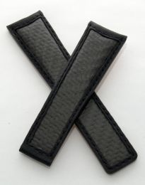 22/18 mm black leather strap with genuine carbon fibre inserts to fit TAG Heuer Carrera/Grand Carrera models listed below - please see clasp fitment notes