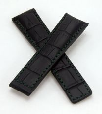 22/18 mm black genuine leather crocodile-effect strap with green stitching & lining to fit TAG Heuer Carrera/Grand Carrera models listed below - please see clasp fitment notes
