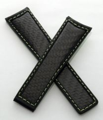 22/18 mm black leather strap with genuine carbon fibre inserts, green stitching and green calf leather lining to fit TAG Heuer Carrera/Grand Carrera models listed below - please see clasp fitment notes