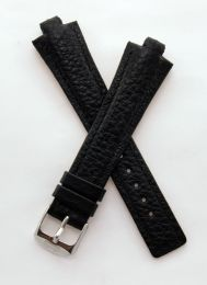Black Buffalo Grain leather pin buckle strap with black stitching & chrome pin buckle to fit TAG Heuer Kirium Gents watches as listed