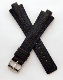 Black Buffalo Grain leather pin buckle strap with blue stitching & chrome pin buckle to fit TAG Heuer Kirium Gents watches as listed