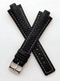 Black Buffalo Grain leather pin buckle strap with white stitching & chrome pin buckle to fit TAG Heuer Kirium Gents watches as listed