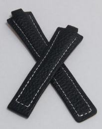 Black Buffalo Grain leather strap with silver stitching to fit TAG Heuer Kirium Gents watches as listed
