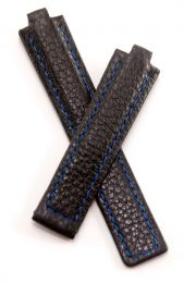 Black Buffalo Grain leather deployment type strap with blue stitching & lining to fit TAG Heuer Kirium mid-sized watches as listed