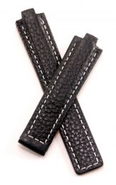 Black Buffalo Grain leather deployment type strap with white stitching to fit TAG Heuer Kirium mid-sized watches as listed