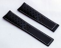 22/18 mm black genuine leather sports perforated deployment type strap with white stitching to fit TAG Heuer Targa Florio models listed - please read clasp fitment notes