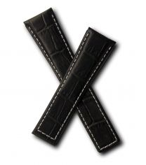 22/18 mm black genuine leather crocodile-style deployment type strap with white stitching to fit TAG Heuer Monaco models listed below - please read clasp fitment notes